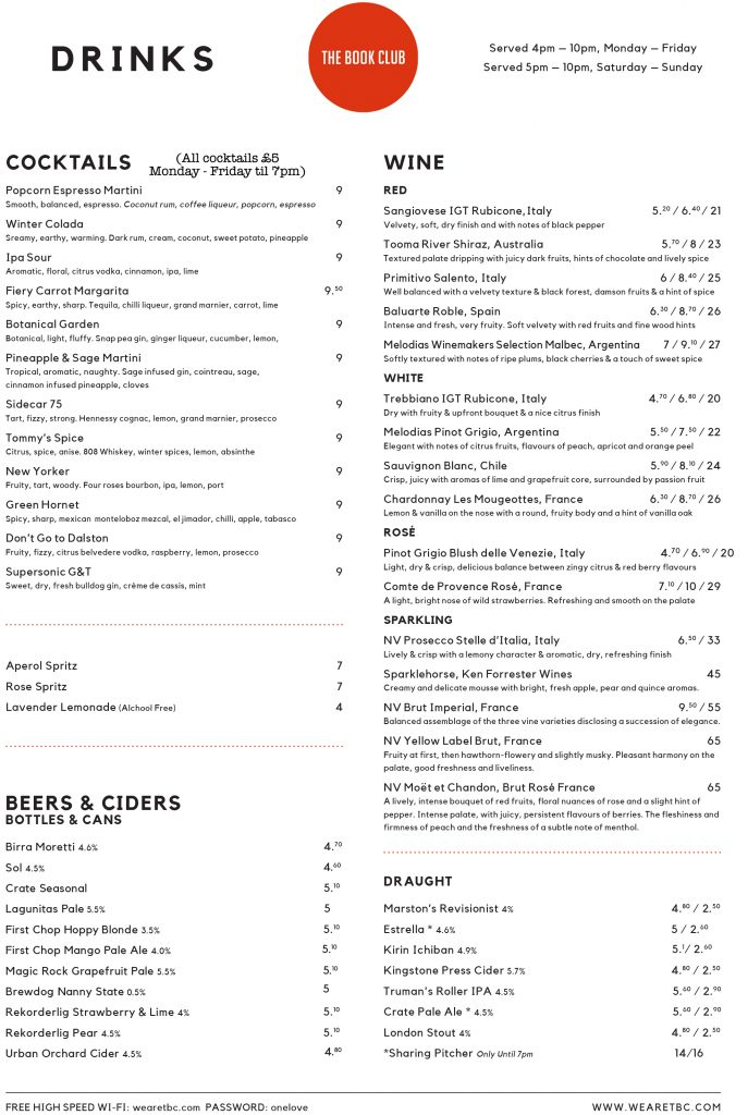 DRINKS MENU (with £5 Deal) - The Book Club